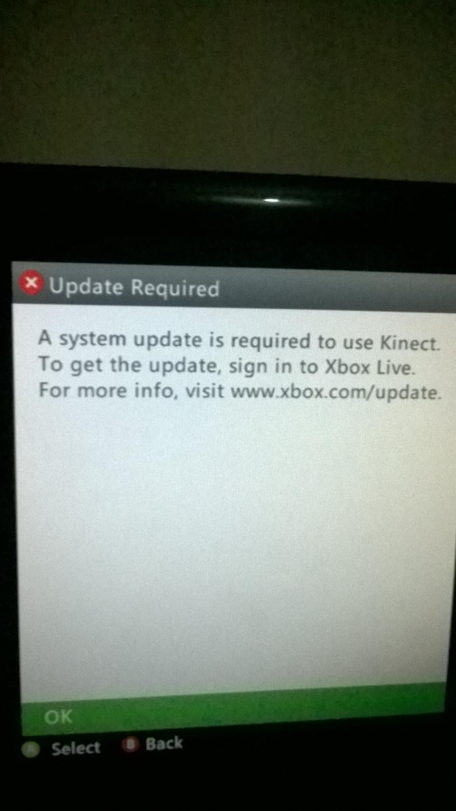 A system update is required to use kinect